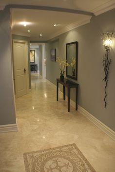 Gray walls. Marble floor. Love