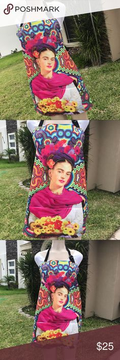 New Mexican Frida Kahlo Apron Colorful Design Super cute! Apron made with water resistant material, very comfortable. Adjustable neck and waist straps. 2 pockets on front. One size fits all. Apron design features Mexican artist Frida Kahlo with a Huichol background, exclusively designed for Cielito Lindo Mexican Boutique. Cielito Lindo Tops Blouses