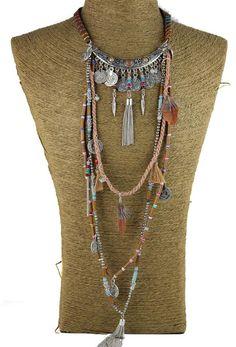 Gypsy Statement Long Necklace Choker Ethnic boho tribal Tassel Jewelry