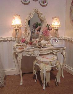 shabby chic furniture decals and stencils Shabby Chic Furniture, Shabby Chic Decor, Shabby Chic Vanity, Room Ideas Bedroom, Bedroom Decor, Bedroom Sets, Princess Room, Pretty Room, Vintage Room