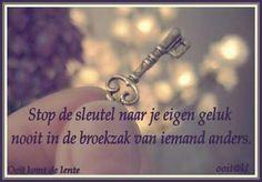 Stop de sleutel naar je eigen geluk ...