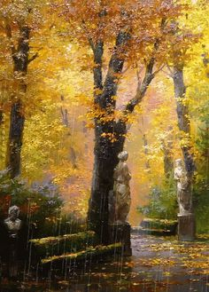 "Photo from album ""Дождь"" on Yandex. Landscape Art, Landscape Paintings, Landscape Photography, Nature Photography, Beautiful Paintings, Beautiful Landscapes, Victor Nizovtsev, Autumn Scenes, Autumn Art"