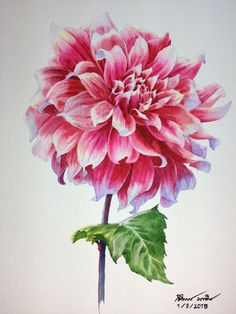 Painting demonstration on last Sunday.(Dahlia flower) By Ti Watercolor .