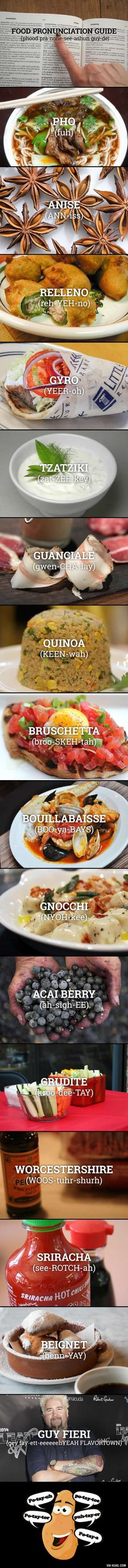 16 commonly mispronounced food words