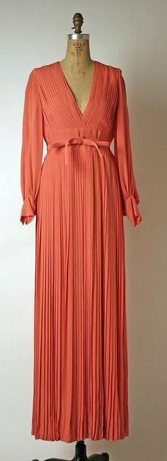 Evening dress, House of Dior, Designer Marc Bohan, fall/winter 1973–74, French, silk