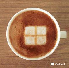 Windows inspired coffee art.