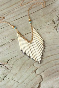 #Pocahontas - #Tribal Urban Frontier Porcupine Quill Necklace by Prairieoats