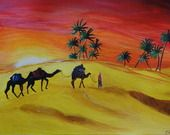 Coucher de soleil et chameaux dans le désert tunisien : Peintures par acryl-art