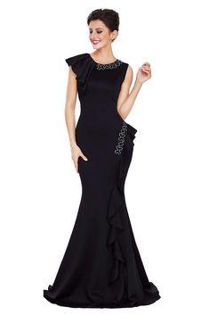 708cf058b55 Black Asymmetric Pleats Detail Elegant Long Party Dress  https   womensonlinestore.com