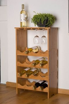 Wooden Wine Rack Bamboo for 16 Bottles and 12 Wine Glasses Bottle Holder in Home, Furniture & DIY, Furniture, Cabinets & Cupboards | eBay