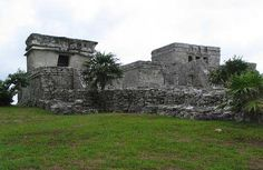 Ruins in Tulum, Mexico -  the building on the left is the Temple of the Descending God
