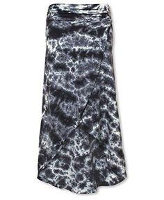 Soul Flower Women's Organic Hi Lo Tie-dye Maxi Skirt (X-Large, Smoke)