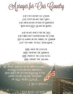 A Prayer for our Country. By Erika Michelle.