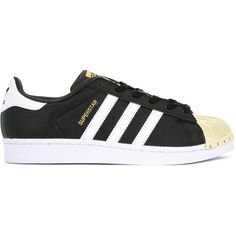 Adidas Superstar 80's sneakers ($115) ❤ liked on Polyvore featuring shoes, sneakers, black, black leather sneakers, adidas trainers, flat cap, black flat shoes and black laced shoes