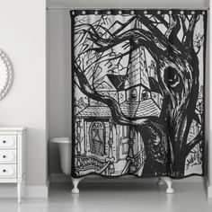 Haunted House Shower Curtain in Black - BedBathandBeyond.com