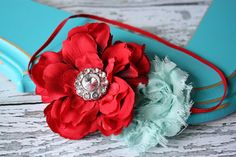 Ohh Lala  Red and Aqua flower headband by babybirdieboutique, $14.00