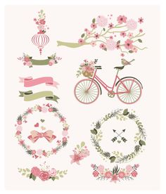 Flower frames bicycle and branches Digital Clipart Banners and Frames for Wedding invitation - Instant Download - Eps & PNG - green and pink