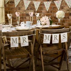 Mr & Mrs Wedding Bunting With Love for Chair / Room - Just Married Vintage Party Wedding Chair Signs, Wedding Chairs, Wedding Table, Wedding Ideas, Wedding Bunting, Garland Wedding, Burlap Chair Sashes, Silk Rose Petals, Mr And Mrs Wedding
