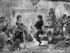 Dancing. Victorian illustration of a couple dancing a reel in an Irish peasant cottage. Accompanied by a piper, who sits on a table, they dance barefoot on the earth floor watched by adults and children. Download high quality jpeg for just £5. Perfect for framing, logos, letterheads, and greetings cards.