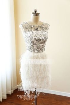 White round neck sequin short prom dress, cute homecoming dress, formal dress for teens