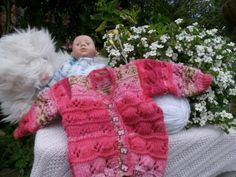 A multi pink toned cardigan for a new born  3 by JudysHandKnits, £8.00