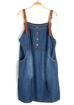 Blue Patchwork Condole Belt Sleeveless Pockets Denim Dress Love Jeans, Cut Jeans, Denim Jacket With Dress, Denim Ideas, Hot Outfits, Denim Outfit, Blouse Dress, Refashion, Passion For Fashion