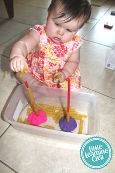 Toddler Approved Activites- Straw and noodles- Fine motor skill activity for toddlers and one year olds. # indoor activities for one year olds Indoor Toddler Activities for Months - Little Learning Club Activities For One Year Olds, Indoor Activities For Toddlers, Toddler Learning Activities, Montessori Toddler, Montessori Activities, Baby Learning, Toddler Play, Infant Activities, Educational Activities