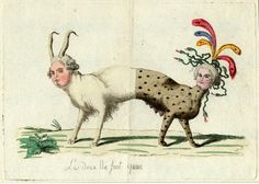 French Revolutionary satire on Louis XVI and Marie Antoinette as a double-ended beast, c. 1791, Hand-coloured etching (British Museum)