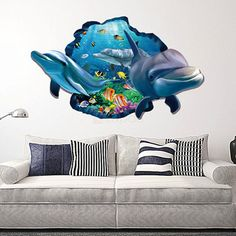 Dolphin Ocean 3D Removable Wall Sticker  Wall Decals for Kid. Easy to apply, peel and stick No paint, no tool, no sticky paste necessary. Stickers can be reapplied and removed without damaging the wall. Non-toxic, no harm to your health. Perfect for your kid's bedroom, play rooms, or anywhere that needs a dash of color and life.