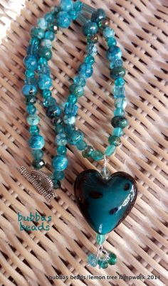 Glass heart pendant, with gemstone bead and crystal necklace.  www.facebook.com/bubbasbeads