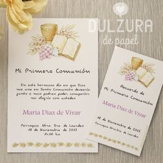Resultado de imagen para invitaciones para primera comunion Die A, Ideas Para Fiestas, First Communion, New Baby Products, Projects To Try, Place Card Holders, Baby Shower, Invitations, Google