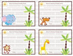 Fisher Price Safari Jungle Baby Shower Advice Cards   Digital File By  PinkTurtleShop On Etsy