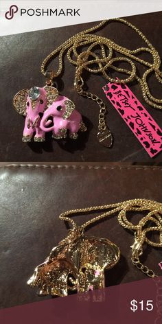 """Betsey Johnson Crystal elephant necklace New New with tags. 28"""" chain. Next day shipping Betsey Johnson Jewelry Necklaces"""