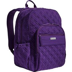 Vera Bradley Campus Tech Backpack ($138) ❤ liked on Polyvore featuring bags, backpacks, purple, vera bradley, purple bag, pocket backpack, mesh backpack and mesh zip bag