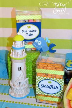 Aiden's Green Whale 1st Birthday Party | CatchMyParty.com
