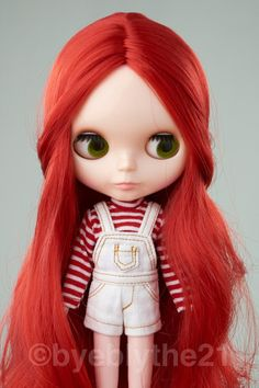 "12""Nude Blythe Doll 1 Doll Stand RED Long Hair From Factory 