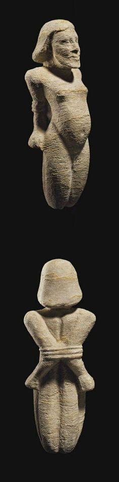 Egyptian Bound Prisoner, New Kingdom to Late Period, Dynasty XVIII-XXVI, 1550-525 B.C.E.. limestone