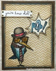 """Richele Christensen: More """"Bird Crazy"""" to love. using Tim Holtz, Ranger, Idea-ology, Sizzix and Stamper's Anonymous products; Crazy Bird, Crazy Dog, Crazy Cats, Dog Cards, Bird Cards, Card Making Inspiration, Making Ideas, Tim Holtz Stamps, Animal Cards"""