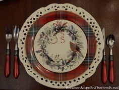Pierced cream white charger plate. Williams-Sonoma Tartan Dishware and Lenox Winter Greetings Salad Plate