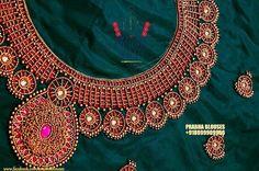 Wedding Saree Blouse Designs, Best Blouse Designs, Simple Blouse Designs, Silk Saree Blouse Designs, Embroidery Works, Beaded Embroidery, Embroidery Designs, Beaded Jewelry Designs, Jewelry Patterns
