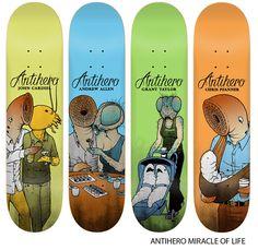 Skateboard Design, Skateboard Decks, Anti Hero Skateboards, Skate Art, Surfing, Cool Stuff, History, Skateboarding, Artwork