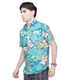 Chewingum Freshwear Green Floral Print Caual Shirt - Reverse Print