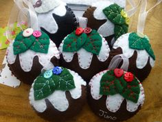 Felt Christmas Ornament Christmas pudding by lauriebale on Etsy, £2.50