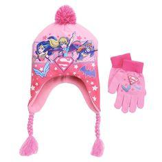 Girls 4-16 DC Comics Super Hero Girls Wonder Woman, Batgirl & Supergirl Pom-Pom Earflap Hat & Gloves Set, Girl's, Pink