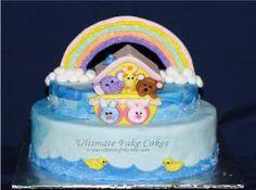 2 tier oval blue Noah's ark cake