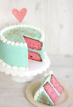 Pink cake with sprinkles.