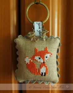 Fox keyring  cross stitched