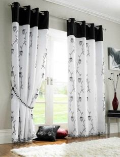 New living room white small bedrooms ideas Home Curtains, Curtains Living, Modern Curtains, Window Curtains, Black Curtains, Kitchen Curtains, Closet Curtains, Sewing Curtains, Custom Curtains