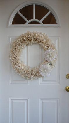Wedding decor I can use again Muslin Wreath with Lace Flowers (22 inch). $70.00, via Etsy.