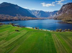 Beautiful blue water and green pasture,Bohijn lake, aerial view,Slovenia. Drone Photography, Jfk, Slovenia, Aerial View, Fields, Golf Courses, Beautiful Places, Explore, Architecture